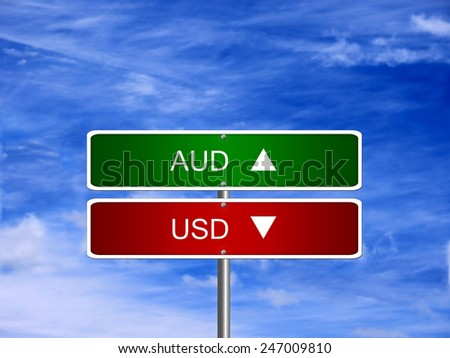 AUD USD symbol icon up down currency forex sign. - stock photo