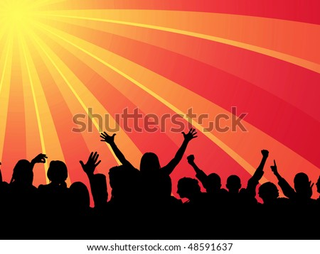 Audience blasted by music and light - stock photo