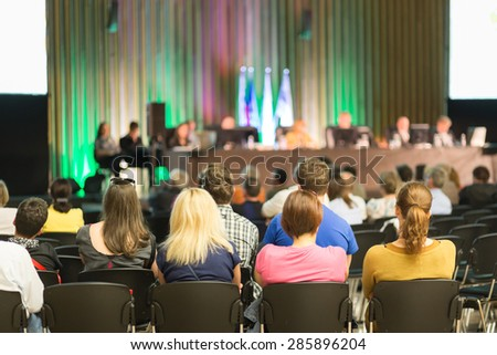Audience in the conference hall at business meeting. Business and Entrepreneurship.  - stock photo