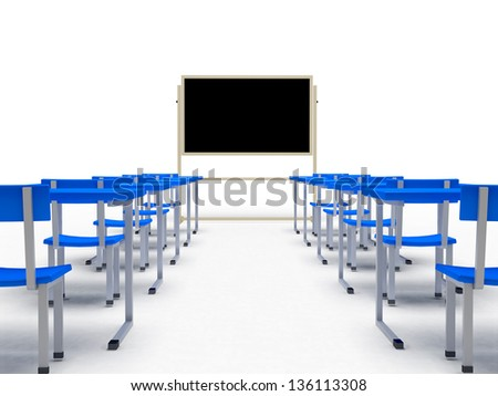 Audience with desks over white background. computer generated image - stock photo
