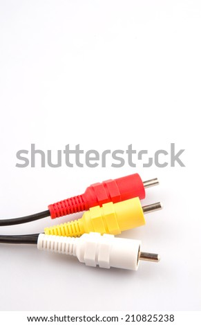 Audio and video cinch connector over white background