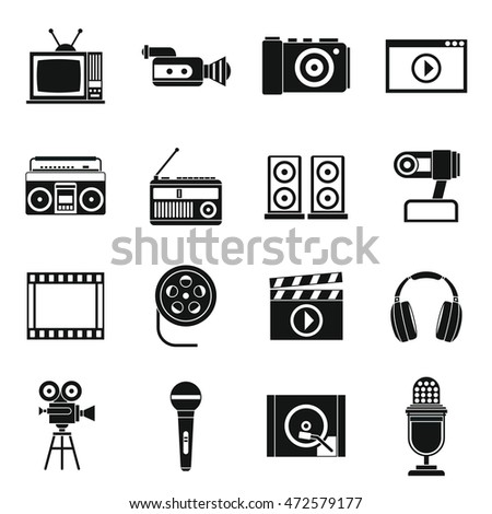 Audio and video icons set in simple style. Multimedia set collection  illustration