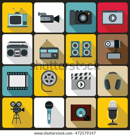 Audio and video set in flat style. Multimedia set collection  illustration