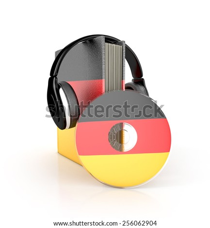 Audio Book. German learning concept with cd, book and headphones. 3d render. - stock photo