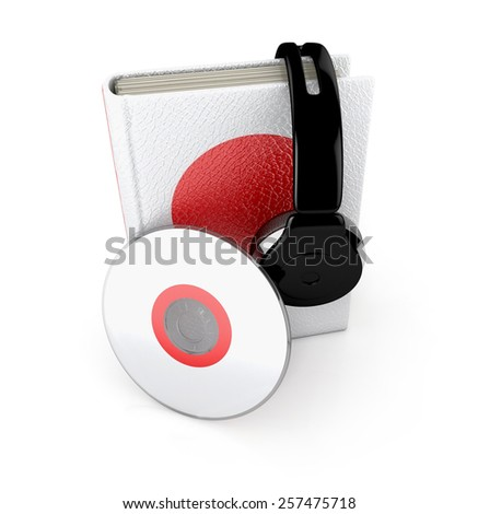 Audio Book. Japanese learning concept with cd, book and headphones. 3d render.