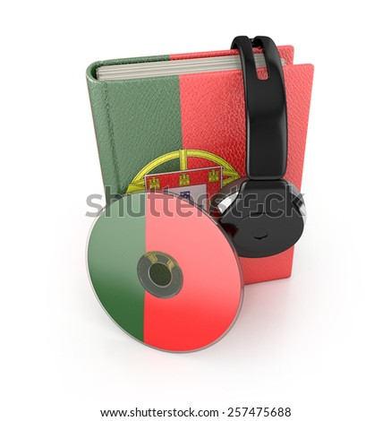 Audio Book. Portuguese learning concept with cd, book and headphones. 3d render. - stock photo