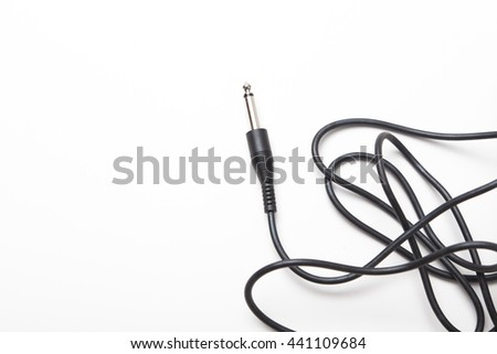 audio cable isolated on white background - stock photo