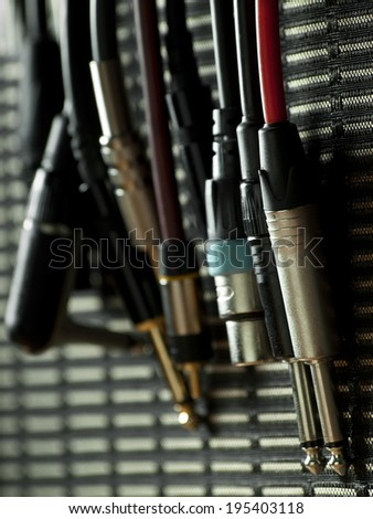 audio cables on the speaker cabinet,for entertainment,sound,music themes - stock photo