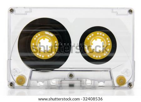 audio casete isolated on a white background - stock photo