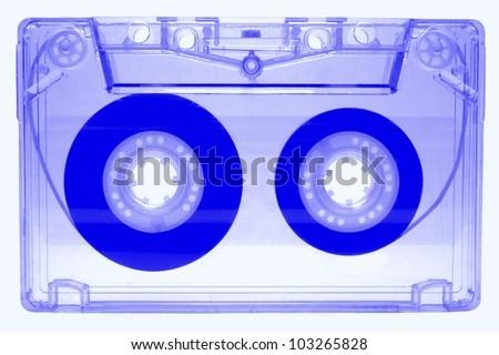 Audio cassette - blue - isolated on white background - stock photo
