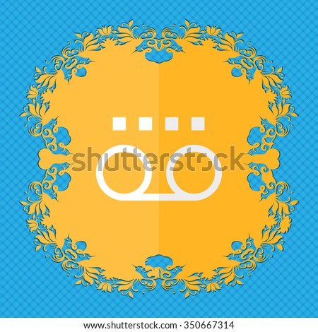 audio cassette. Floral flat design on a blue abstract background with place for your text. illustration - stock photo