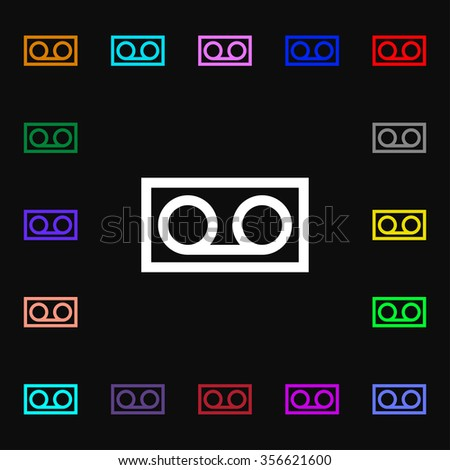 audio cassette icon sign. Lots of colorful symbols for your design. illustration - stock photo