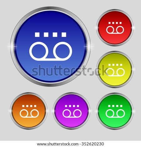 audio cassette icon sign. Round symbol on bright colourful buttons. illustration - stock photo