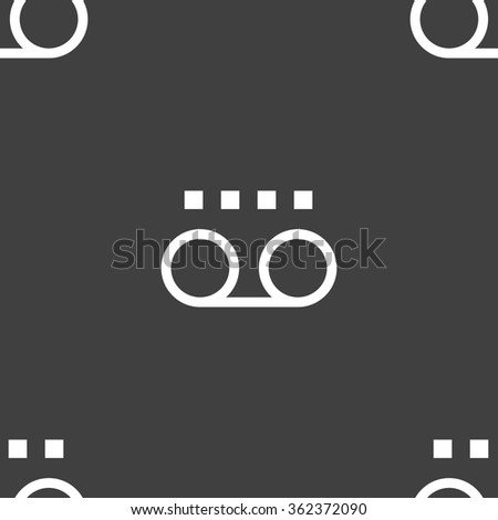 audio cassette icon sign. Seamless pattern on a gray background. illustration - stock photo