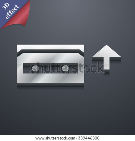 audio cassette icon symbol. 3D style. Trendy, modern design with space for your text illustration. Rastrized copy - stock photo