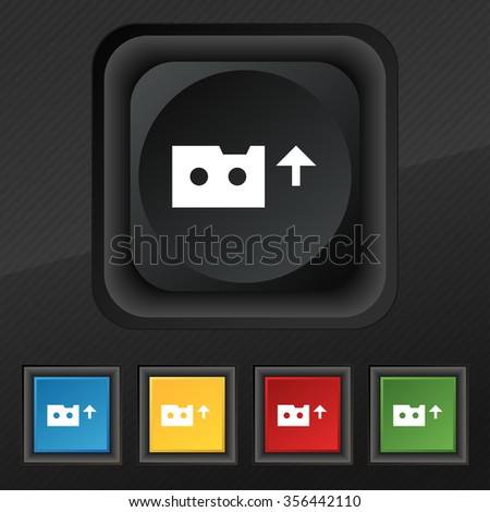 audio cassette icon symbol. Set of five colorful, stylish buttons on black texture for your design. illustration - stock photo