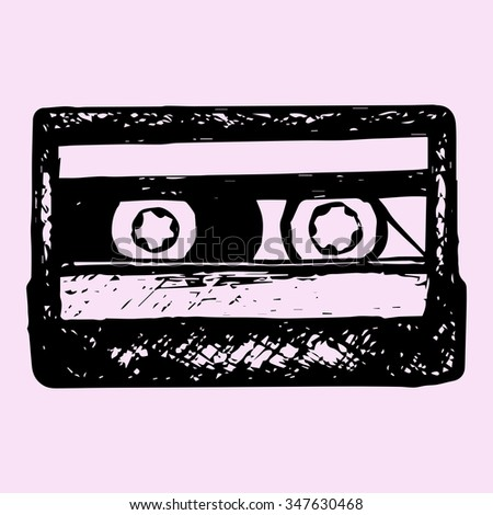 audio cassette, music cassette, doodle style, sketch illustration, hand drawn, raster - stock photo