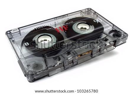 Audio cassette  on white background - stock photo
