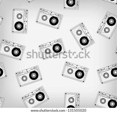 Audio cassette pattern contour. Its a raster version. Vector search in my portfolio - stock photo