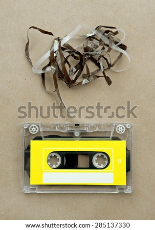 Audio cassette tape with subtracted out tape