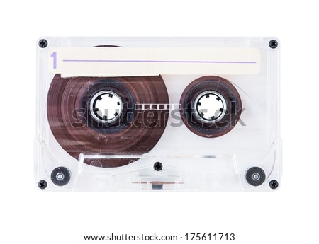 audio cassette with transparent cover isolated on white background