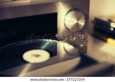 Audio CD player done with a vintage retro instagram filter - stock photo