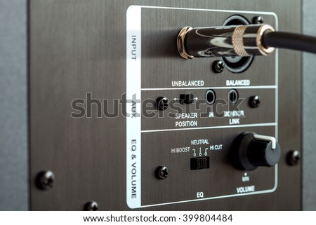 audio connection control panel active studio monitor, trs connection. - stock photo