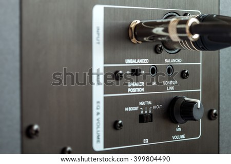 audio connection control panel active studio monitor, xlr and trs connection. - stock photo
