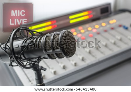 audio console and microphone in radio studio