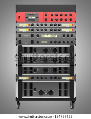 audio effects processors in a rack isolated on gray background