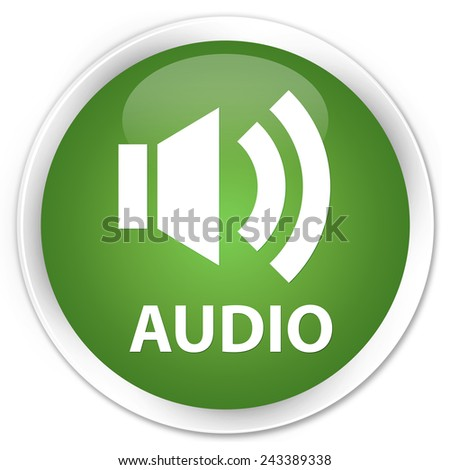 Audio green round button - stock photo