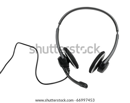 audio headset (clipping path) on white background - stock photo