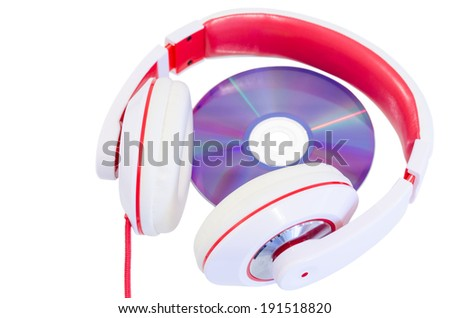 Audio language course compact disc and red white colored headphones isolated - stock photo