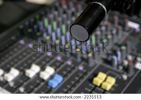 Audio mixer and microphone in small radio studio