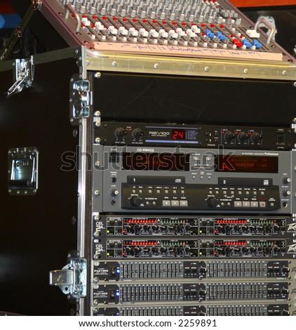 audio mixer at a concert - stock photo