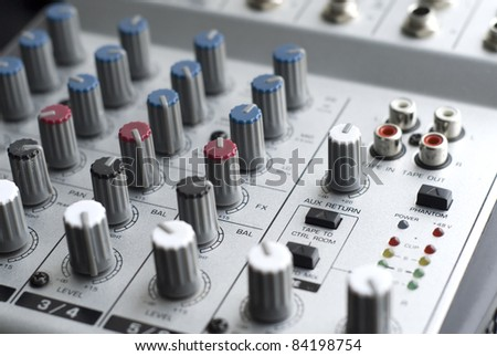 Audio Mixer - close up with shallow depth of field - stock photo