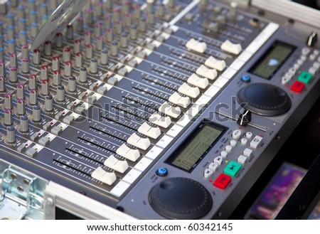 audio mixer in detail - stock photo
