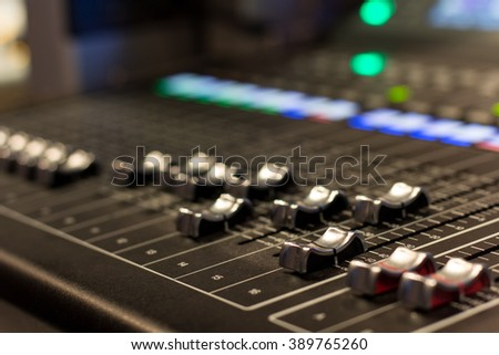 audio mixer, tv, production , select  focus ,soft focus  , some position to blurry - stock photo