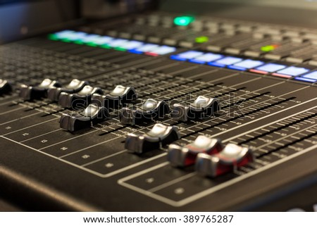 audio mixer, tv, production , select  focus ,soft focus  , some position to blurry