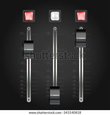 audio mixing console on black. JPG version - stock photo