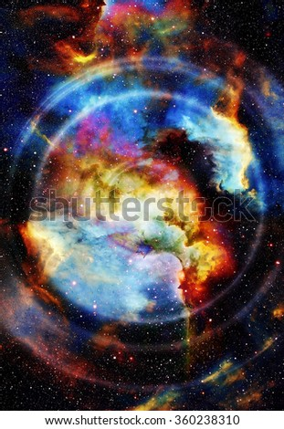 Audio music Speaker with color effect. Cosmic space and stars, cosmic abstract background, space music, music concept. Elements of this image furnished by NASA.