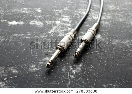 Audio plug for connection sound equipment - stock photo