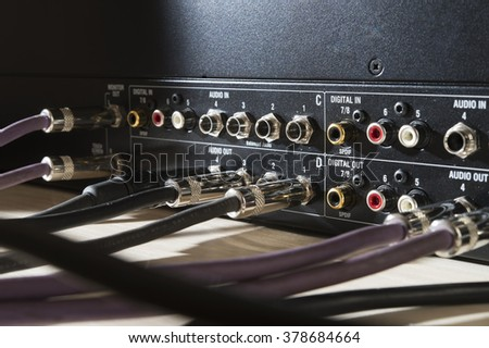 audio ports and connectors  - stock photo