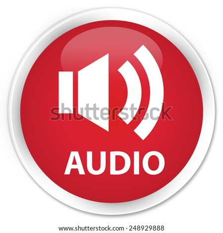 Audio red glossy round button - stock photo