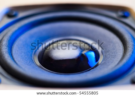audio speaker closeup with shallow depth of field - stock photo