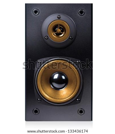 Audio speaker in  case isolated on white background, - stock photo