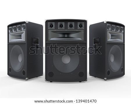 Audio Speakers Isolated on White Background