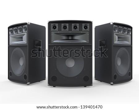 Audio Speakers Isolated on White Background - stock photo