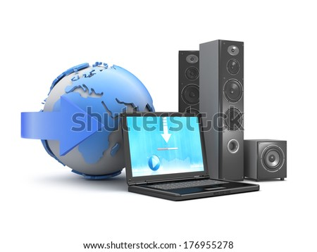 Audio speakers, laptop and earth globe as downloadable music symbol