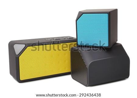 Audio speakers on white background - stock photo